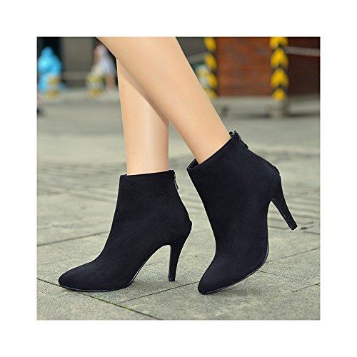 OCHENTA Femme Bottines Suedine Talons Aiguilles Hauts Simple Mode Elegant Chaussure Bottes Noir