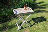 Dreams4Home Stehtablett 'Manaus III', Beistelltisch, Gartentisch, Tisch, Terrassentisch, Glastisch, Rundtisch, (B/L/H) ca.60 x 40 x 72 cm, Garten, in taupe