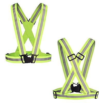 Reflektierende Gürtel, Isuri Leicht und Vielseitig Reflective Safety Belt Sich zum Joggen, Fahrradfahren,Laufen und ect, Neon-Grün