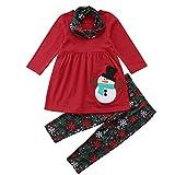 3PC/ Conjunto Ropa Navidad Niña Disfraz - 6 Meses - 4 años Tops de Muñeco de Nieve Estampado + Pantalones a Copo de Nieve + Bufanda