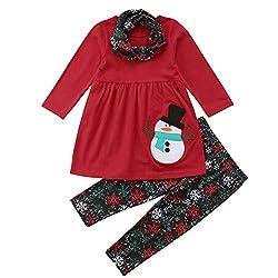 Kleidung Set,Transwen Kleinkind Kinder Baby Langarm Schneemann Print Tops Hosen Weihnachten Outfits Strampler mit Röckchen und Schal Weihnachtskostüm (100, Rot)