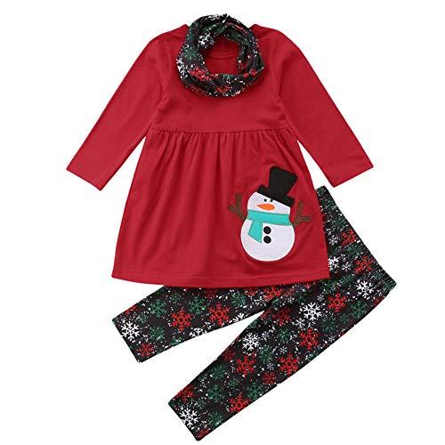 Beikoard Kinder Baby Mädchen Langarm Schneemann Print Tops Hosen Weihnachten Outfits Taufbekleidung Bekleidungssets 3 Stücke Tops Hosen ()