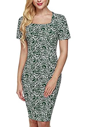 CRAVOG Damen Bodycon Dress Blumen Partykleid Cocktailkleider Ballkleider