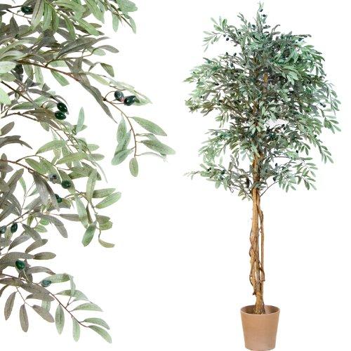 Olivenbaum mit Früchten Echtholzstamm Kunstbaum Kunstpflanze Dekobaum 180cm groß - 2