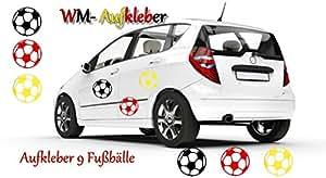 Wandtattoos, Autoaufkleber EM Frankreich Fanartikel 9 Fußbälle XXL in den Farben der deutschen Flagge als Fanaufkleber für das Auto, die Haustür,die Wand,als Fensterdekoration…