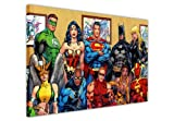 """Justice League"" Familienfoto von DC Comics' Superhelden, Pop-Art Leinwandbild, mit Superhelden, Kunstdruck-Bild, Raumdekoration, Poster, Batman, Superman, Wonder Woman, canvas holz, 8- A1 - (76 x 60 cm)"