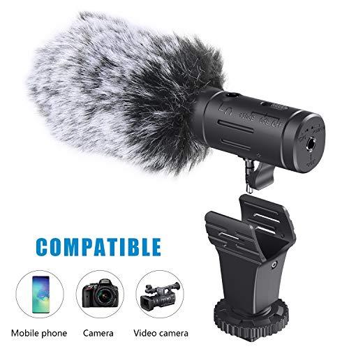 Smartphone Mikrofon/Kamera Mikrofon, Emiral externes Mikrofon mit 3,5mm Klinkenstecker und Blitzschuheadapter für iPhone und Android-Geräte