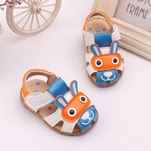 SHOBDW Kleinkind scherzt Baby-Jungen-Sommer-Schuhe mit blinkenden Lichter-Sandelholz-Karikatur-Schuhen Blau