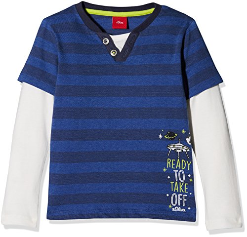 s.Oliver Baby-Jungen Langarmshirt 65.711.31.7792, Blau (Medium Blue Stripes 55G0), 80