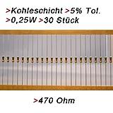 Widerstand 470 Ohm, 30 Stück, Kohleschicht 0.25W 5% Widerstände Resistor