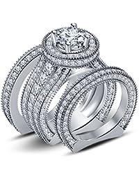 Silvernshine 4ct Diamond 14k White Gold Fn 925 Silver Ladies Engagement Wedding Ring Trio Set
