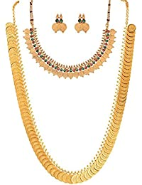 YouBella Gold Plated Jewellery Set for Women (Golden)(Mix_Combo_72)