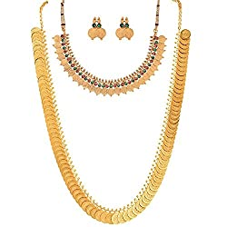YouBella Jewellery Traditional Temple Coin Combo of Laxmi Coin Red Green Necklace Set / Jewellery Set with Earrings for Girls and Women
