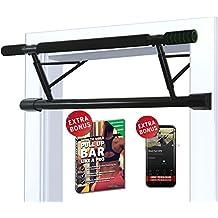 Barra de dominadas para marco de la puerta sin tornillos / taladro + guía de entrenamiento – Barra de tracción profesional con empuñaduras acolchadas – Extra ancha para fijación en puertas en casa