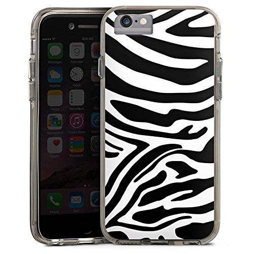 Apple iPhone 6 Bumper Hülle Bumper Case Glitzer Hülle Zebra Animal Dschungel Bumper Case transparent grau