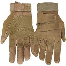 Mimicool Guantes al aire libre de los hombres llenos del dedo guantes tácticos militares patín de desgaste contra guantes resistentes ciclo de la bicicleta de la motocicleta (brown, XL)