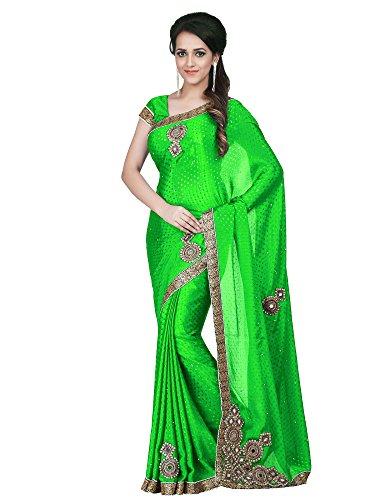 Sareeshop Silk Saree With Blouse Piece (Mancholigreen_Green_Free Size)