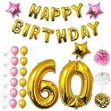 Globos Cumpleaños Happy Birthday #60, Suministros y Decoración por Belle Vous Vous - Set 26 Piezas - Globo Grande Aluminio de 30,5cm 60 Años - Globos De Látex Dorado, Blanco y Rosa - Para Adultos