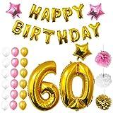 BELLE VOUS Joyeux Anniversaire Ballons - Fête Décoration Fournitures (Age 60)