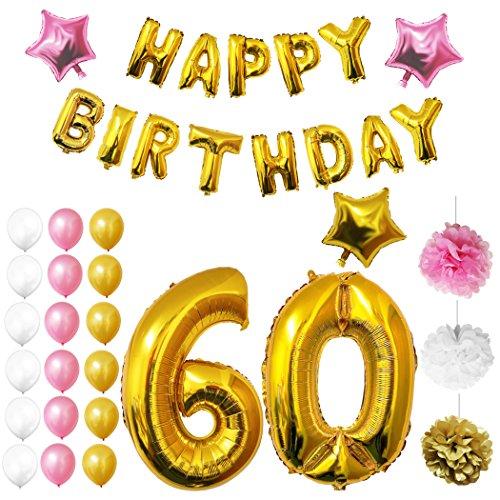 BELLE VOUS Cumpleaños Globos - Decoraciones de Cumpleaño (Age 60)