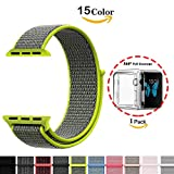 Chok Idea Watchband For Apple Watch,[With Clear TPU Case],42mm Nylon Sport Loop with Hook and Loop Adjustable Fastener Replacment Band for iWatch Apple Watch Series 3/2/1 Sport and Edition,Flash