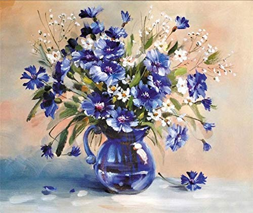 LIGGMI DIY-Ölgemälde Nach Zahlen,DIY Digital Painting by Numbers Package Royal Blue Vase Oil Painting Mural Kits Coloring Wall Art Picture Gift Frameless (Vase Royal Blue)