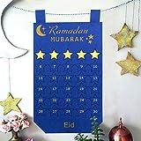 Aparty4u Ramadan Kalender 2019, 30 Tage Countdown zu Eid Kalender mit Sternen Design für Kinder Ramadan Geschenke hängend Dekoration, Blau