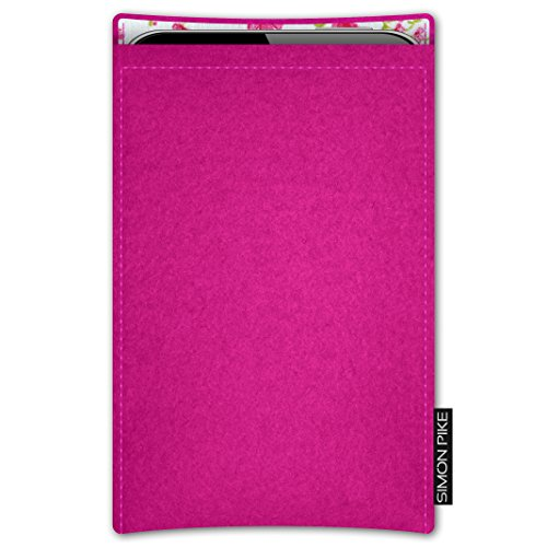 SIMON PIKE AppleiPhone 7 / 6 / 6S Filztasche Case Hülle 'Boston' in anthrazit1, passgenau maßgefertigte Filz Schutzhülle aus echtem Natur Wollfilz, dünne Tasche im schlanken Slim Fit Design für das iP pink Filz (Muster 14)