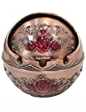 TOWOMO Vintage Wind-Proof Ashtray with Lid, Red Rose Pattern Decorative Ash Tray Holder for Cigarettes (Brown)