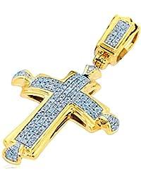 pendants-midwestjewellery hommes de 10K Pendentif Croix en or jaune serti de diamants 1/4ctw 37mm de haut (I2/i3, I/J)