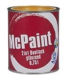 McPaint 2in1 Buntlack Grundierung und Lack in einem für Innen und Außen. PU verstärkt - speziell für Möbel und Kinderspielzeug glänzend Farbton: RAL 1021 Rapsgelb 0,75 Liter - Bastellack- Andere Farben verfügbar