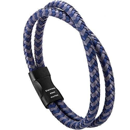 murtoo Pulsera Hombre Cuero Trenzada Cruzada Brazalete con Cierre Magnética Acero Inoxidable - 21cm (Azul)