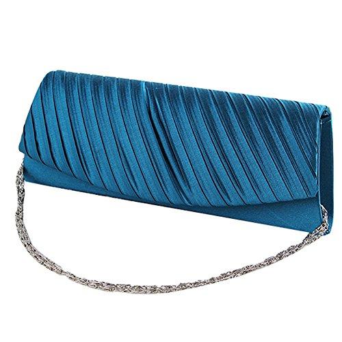 GSPStyle Damen Abendtasche Samt Clutches Handtasche Hochzeit Brauttasche Party Schultertasche Farbe Blau Blau