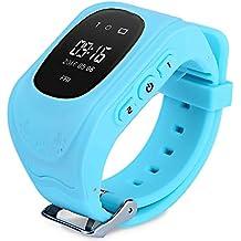Niños Reloj Inteligente GPS Rastreador Localizador anti-lost Seguridad Niños Reloj de Pulsera SOS Llamadas SIM Podómetro Smartwatch Compatible con iPhone y Android Smartphone Q50(Azul)