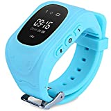 Montre intelligente pour enfants GPS Tracker Smart watch SOS suivi en temps réel Locator Kids Anti-Perdu Bracelet Conversation Bidirectionnelle Finder pour Android et iPhone Smartphone Q50 (Bleu)