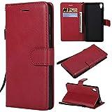 BoxTii Coque Sony Xperia E5, Etui en Cuir Flip Portefeuille Housse de Protection avec Gratuit Protection D'écran en Verre Trempé pour Sony Xperia E5 (Rouge)