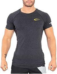 Smilodox Men's slim-fit T-shirt   Short-sleeved shirt for sport fitness gym and training   Training shirt running shirt   Crew neck T-Shirt with print.