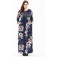 HUAN Vestido Largo Extragrande de Mujer, Vestido Largo Estampado de Primavera de Mujer (Color : Do, Tamaño : XXXL)