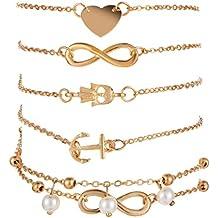Freessom Lot de 5pcs Bracelet Cheville Femme Boheme Pendentif Infini Coeur  Ancre Main Perle Boule Double