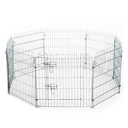 PawHut Recinto per Cani Gatti Cuccioli Roditori Recinzione Rete Gabbia 8 Pezzi L63 x H91 cm