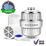 Eco Element 2nd Generation Verbesserter Duschfilter. Komplettes Duschfilter-Set. Einfache Einstellung. (Enthält 2 Ersatzfilterpatronen + Chrome Shell + Teflonband + Scheibenringe + BONUS Duschwaschhandschuhe)