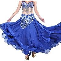Wgwioo Falda De Danza del Vientre Tribal De Halloween Gasa con Gradas De La Falda Maxi Completa Deep Blue F