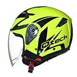 JET CASCO Moto Helm Doppia Visierra Parasole Nero Opaco Vespa EC 22-05 approvato Giallo Fluorescentet - M (57-58cm)