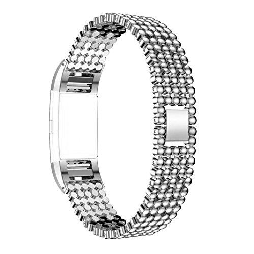 Armband für Fitbit Charge 2, Rosa Schleife Edelstahl Replacement Wrist Band Watchband Fitness Strap Uhrenarmband Ersatzband mit Metallschließe für Fitbit Charge 2 Silber