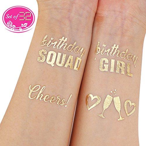 Howaf 32 Piezas Metálico Oro tatuajes temporales brazo cuello impermeable Falso Tatuajes Adhesivos para Adultos hombre Mujer niños fiesta de cumpleaños decoración