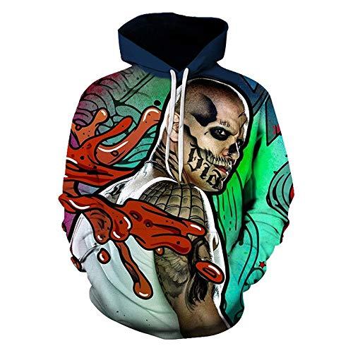 Dodom Sudadera con Capucha Hombre/Mujer Joker Suicide Squad Dead Shot Tatuaje...