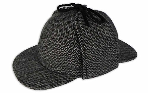 Pasquale Cutarelli Tweed Sherlock Holmes Deerstalker Herrenmütze aus Wolle (9167) Hellgrau ()