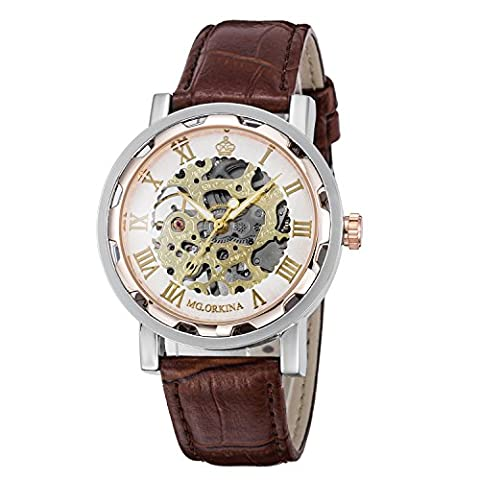 GuTe Steampunk Men's Skeleton Mechanical Wrist Watch Hand Wind Analogue