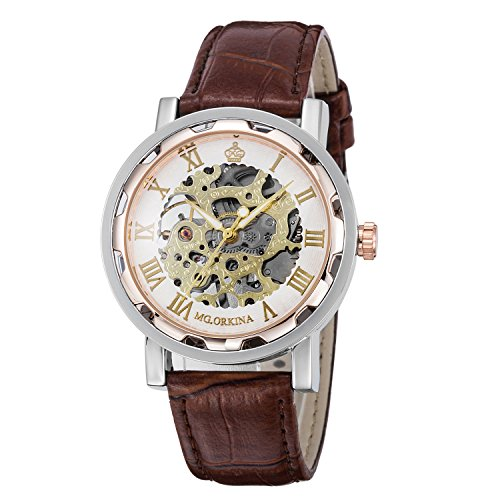 Skelett Watch Rose (Gute Steampunk Bling Skelett Mechanische Armbanduhr roségoldenem Fall aufziehbar)