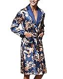 Couple Pyjamas en Satin Homme Kimono Robe De Chambre Femme Vêtements de Nuit Luxe Bleu Royal X-Large